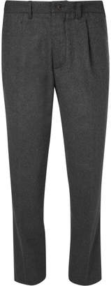 Altea Pleated Mélange Stretch Wool-Blend Flannel Trousers