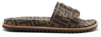 Fendi Logo Embellished Rubber Slides - Mens - Brown