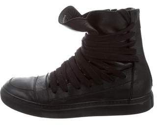 Kris Van Assche High-Top Round-Toe Sneakers