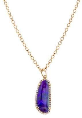Irene Neuwirth 18K Boulder Opal & Diamond Pendant Necklace