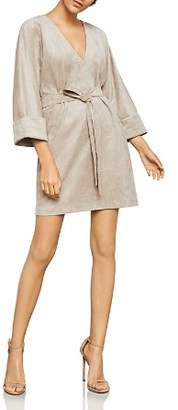 BCBGMAXAZRIA Belted Faux Suede Dress