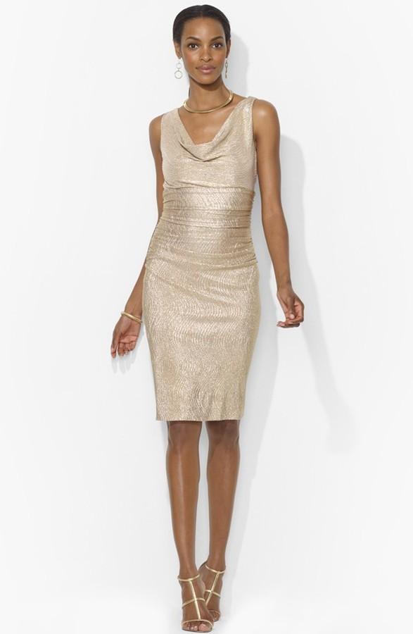 Lauren Ralph Lauren Metallic Jersey Sheath Dress