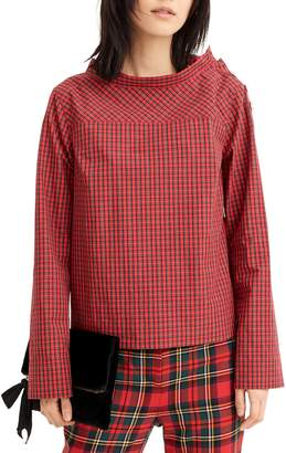 J.Crew Jewel Button Funnel Neck Plaid Shirt