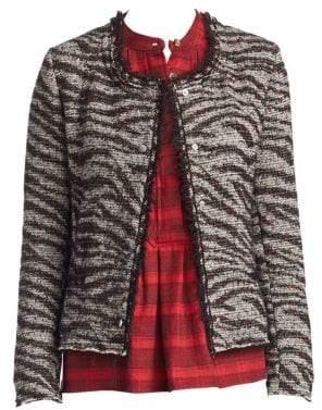 Etoile Isabel Marant Lycia Zebra Cropped Snap Jacket