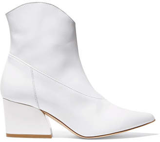 Tibi Dylan Patent-leather Ankle Boots - White