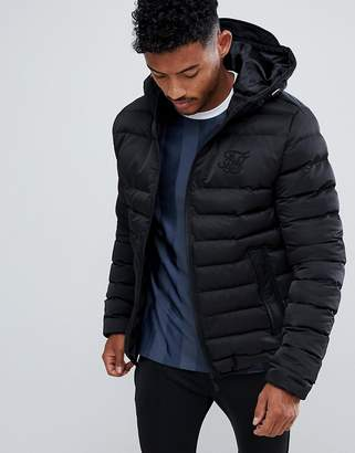 SikSilk puffer jacket with hood in black