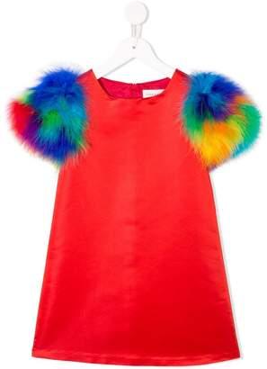 Charabia feather sleeve dress