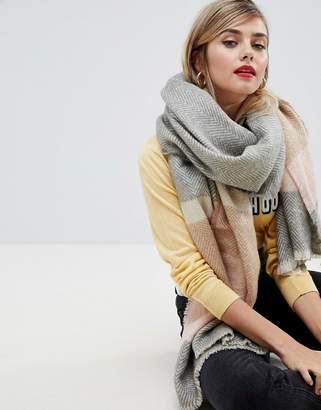 Asos Design DESIGN long oversized herringbone scarf in pastel stripe