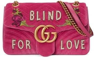 Gucci GG Marmont 2.0 Imitation Pearl Embellished Velvet Crossbody Bag