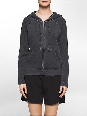 Calvin Klein Womens Performance Mixed Media Roll-Tab Sleeve Hooded Sweatjacket