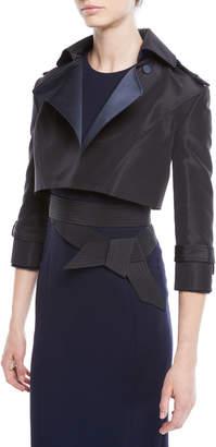 Atelier Caito For Herve Pierre Silk Faille & Satin Duchess Cropped Moto Jacket