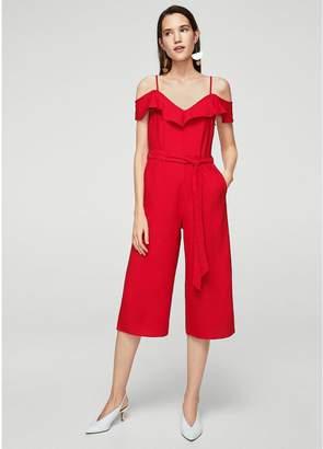 MANGO Bow Ruffled Jumpsuit - Red