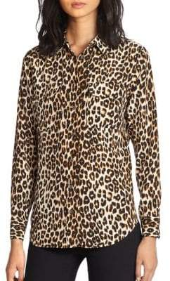 Equipment Slim Signature Silk Leopard Print Shirt