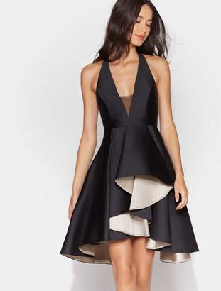 Halston Colorblock Dress with Dramatic Skirt