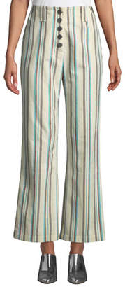 3.1 Phillip Lim Button-Front Kick-Flare Striped Cotton Pants