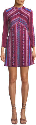 Free People Mock-Neck Mosaic-Print Mini Dress