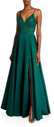 Faviana V-Neck Sleeveless Lace-Up Back Satin Gown with Applique Bodice