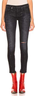 R 13 Alison Skinny in Black Snake Foil Print | FWRD