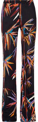 Emilio Pucci - Printed Stretch-jersey Wide-leg Pants - Black $790 thestylecure.com
