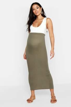 boohoo Maternity Maxi Rib Skirt