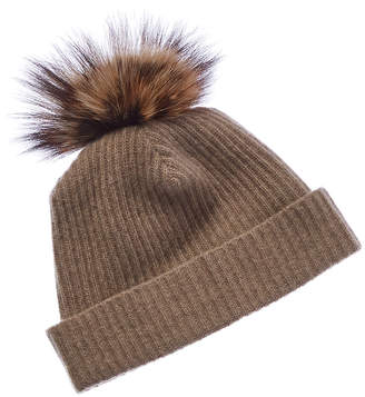 Portolano Cashmere Hat With Fox Pom