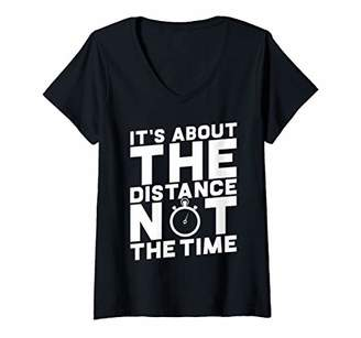 Womens It's About The Distance Not The Time V-Neck T-Shirt