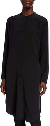 Eileen Fisher Silk Crepe Button-Front Long Shirtdress w/ Mandarin Collar