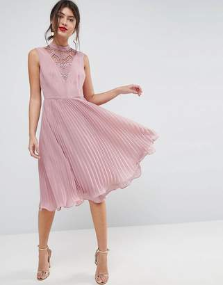 Asos Design Sleeveless Lace Insert Pleated Midi Dress