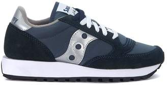Saucony Jazz Dark Blue And Silver Leather And Nylon Sneakers