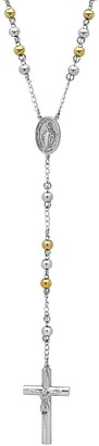 Stainless Steel Two Tone Rosary Necklace - Men
