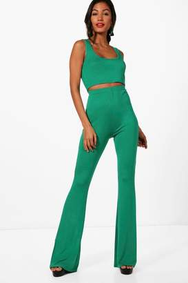 boohoo Basic Bralet and Flared Trouser Co-ord