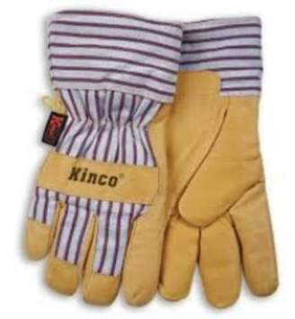 Kinco 1927M Work Gloves, Grain Pigskin Palm, Material Back And Cuff, Heatkeep Insulated Lining, Medium