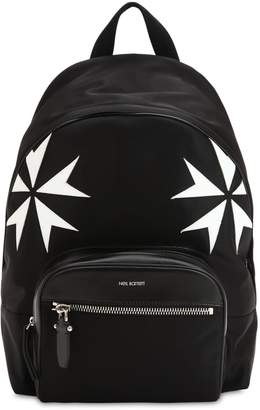 Neil Barrett Patch Stars Nylon & Leather Backpack