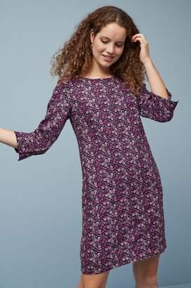 Next Womens Berry Linen Blend Sleeved Dress - Purple