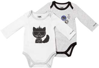 Karl Lagerfeld Set Of 2 Cotton Jersey Bodysuits