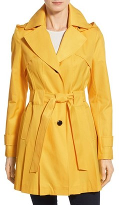 Women's Via Spiga 'Scarpa' Hooded Single Breasted Trench Coat $198 thestylecure.com