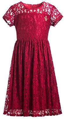 Emma Riley Girls' Short Sleeve Stretch Full Lace Party Dress with Butterfly Embellishment