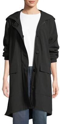Eileen Fisher Hooded Long-Sleeve A-Line Rain Coat w/ Dual-Front Closure & Pockets, Plus Size
