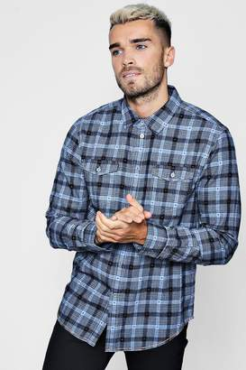 boohoo Double Pocket Dobby Check Long Sleeve Shirt