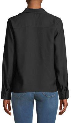 Nicole Miller New York Crepe Twist-Hem Button-Front Blouse