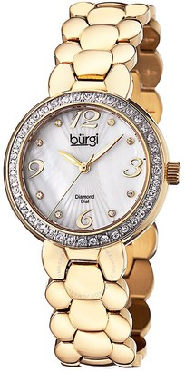 Burgi White Mother of Pearl Dial Stainless Steel Bracelet Ladies Watch