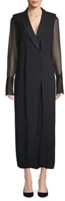 Lanvin Mesh Long-Sleeve Dress