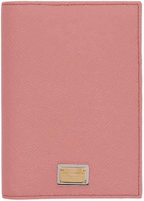 Dolce & Gabbana Pink Logo Plate Passport Holder