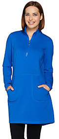 Denim & Co. Active Mock Neck Half Zip LongSleeve Tunic