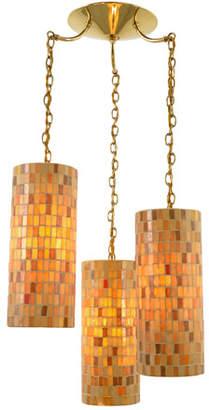 Rejuvenation Mid-Century Amber Mosaic 3-Light Chandelier