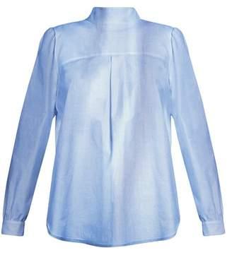 Golden Goose Deluxe Brand - Betta High Neck Cotton Chambray Shirt - Womens - Light Blue