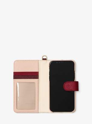 MICHAEL Michael Kors Color-Block Saffiano Leather Folio Case for iPhone X