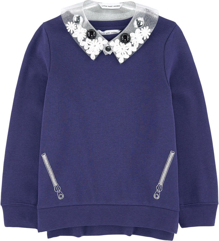 Little Marc Jacobs Trompe-l'ナ妬l sweatshirt with a removable collar