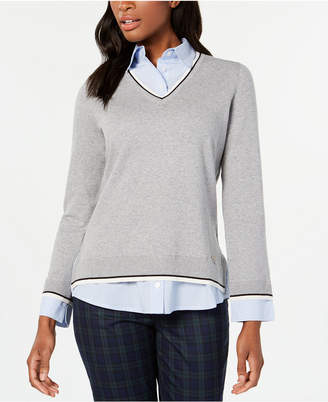 Tommy Hilfiger Layered-Look Striped-Trim Sweater