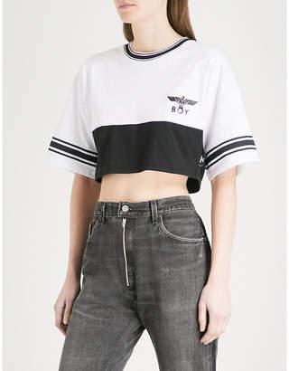 Boy London Eagle-logo cotton-jersey cropped T-shirt